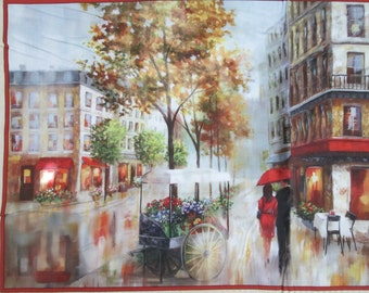 Paris Romance Streets Artworks Digital Cotton Fabric Panel