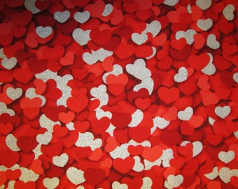 Hearts Red Silver Glitter Heart Cotton Fabric Fat Quarter Or Custom Listing