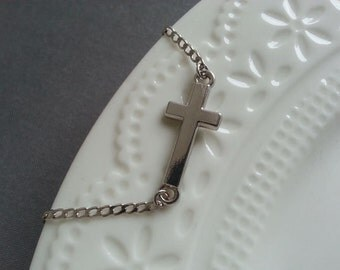 Cross Bracelet. Silver Cross Bracelet. Sideways Cross Bracelet. Cross Jewelry. Small Cross Bracelet. Layered Layering