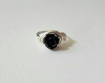 Black rose wire wrapped ring, pretty handmade jewelry, boho chic, unique