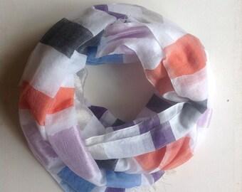 Rose Quartz orange serenity blue stripe scarf- spring summer woven Ethiopian scarf- multicolor gauze silk scarf for Women- women's clothing