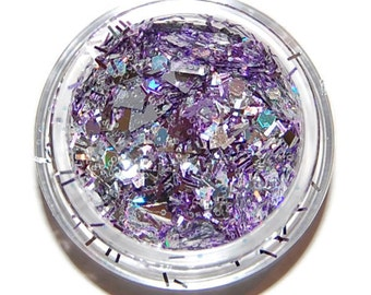 Glittery Night Silver and Lavender Sparkle Mix, Solvent Resistant Glitter Mix: 5 GRAM JAR. Raw Nail Glitter Mix for Nail Polish and Nail Art