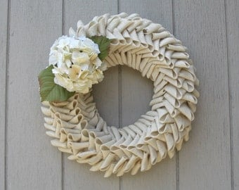 Spring and Summer Sophisticated Ivory Burlap Petal Shape Wreath Choose from Peony or Hydrangea Accent Flower