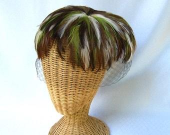 Vintage Ladies Hat Feather Veil Fascinator Green Brown White