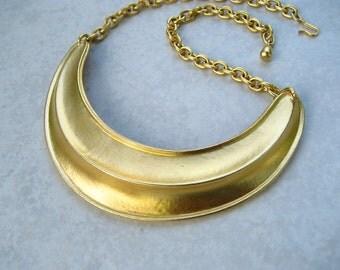 Vintage Modernist Bib Necklace Brushed 10K Gold Plate