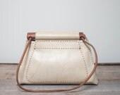 1970's Vintage Cream Color Leather Shoulder Bag Purse