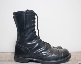 12 D   Men's Vintage Double H / HH Paratrooper Jump Boots Cap Toe Combat Boots in Black Leather