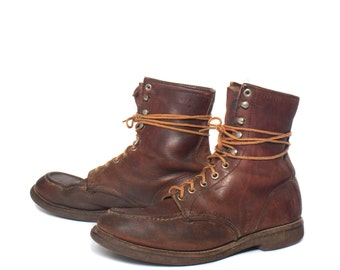9 C | Men's Red Wing Sport Boots Moc Toe Work Boot in Brown Leather