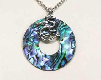 Silver Dragon with Paua Shell Circle Pendant Necklace