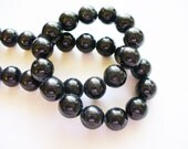Fossil Beads Black Round 10mm