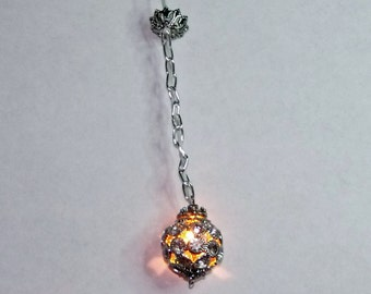 Dollhouse/Doll House Miniature Silver tone Rhinestone Hanging Light Fixture Wired L24