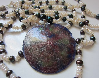 Freshwater and Dyed Pearl Necklace with Sand Dollar Pendant