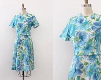 CLEARANCE // vintage 1960s dress // 60s blue floral dress