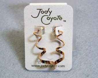 Vintage Jody Coyote Gold Filled Spiral Pierced Earrings, Mint on Card