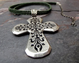 Large Cross Necklace:  Emerald Green Leather Necklace, Macrame Adjustable Choker, St. Patricks Day Jewely, St. Pattys, Rustic Boho