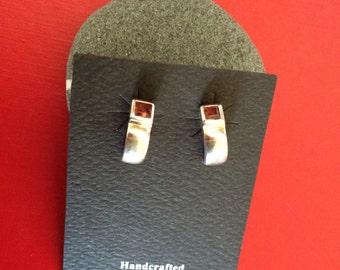 Sterling Silver and Garnet Post Half Hoop Earrings