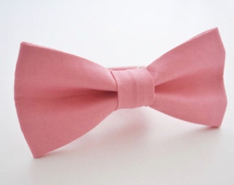 Mens Bowtie Kaufman Kona in Melon, Pink Bow Tie, Groomsmen Bow Tie, Wedding Bow Ties, Adjustable Bow Tie