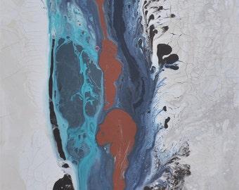 Desert Rain,  abstract painting, turquoise, navy, espresso, bloack, burnt umber, rust modern art