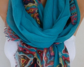 Teal Cotton Scarf,Spring Fashion, Shawl, Cowl Oversized Wrap Gift Ideas For Her Women Fashion Accessories, Women Scarves