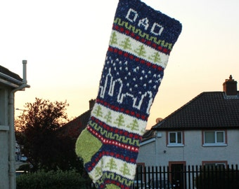 Personalized Holiday Stocking with City Skyline Knit Fair Isle Handknit Modern Christmas Santa Sock - Custom made to order