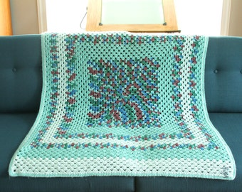 Vintage Granny Square Afghan in Blue-Green Blue and Purple - Handmade Crocheted Blanket - Vintage Throw
