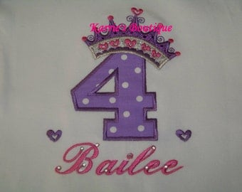 Princess Crown Birthday Shirt / Pink & Purple / Personalized / Bling / 1st Birthday / Cake Smash / Baby / Girl/ Toddler/ Boutique Clothing