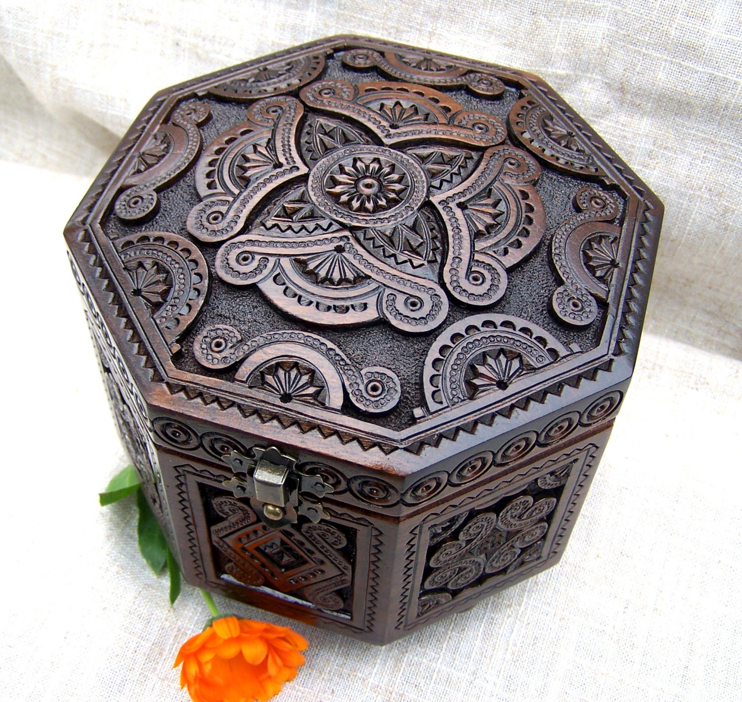 Jewelry box wooden ring carved wood by happyflying