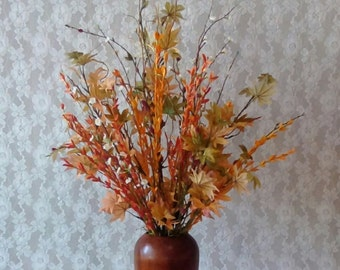 Large Autumn Arrangement, Fall Life like Flowers, Thanksgiving Table Top Arrangement, Modern Rustic, Cottage decor, Home Staging