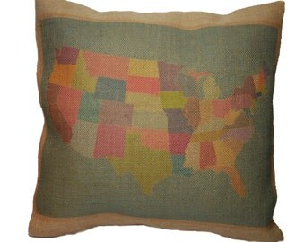 Us Map Pillow Etsy - Us map pillow personalized