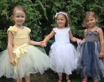 """Crochet Dress Pattern: Crochet Tutu, 3 pack, Flower Girl Dress, Party Dress, """"Mary's, Lisa-Lynn & Robin Dresses"""