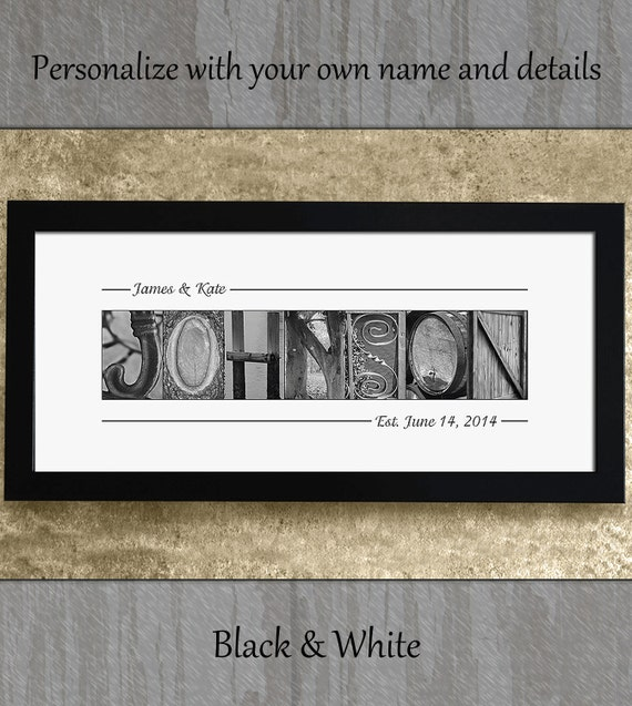 ALPHABET PHOTOGRAPHY LETTERS - Wedding Gift, Anniversary Gift, Personalized Wedding Gift, Last Name Gift, Alphabet Art Photos
