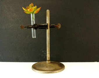 """Vintage Industrial Science Lab Stand with Clamps and Test Tube, 9"""" tall (c.1950s) - Industrial Vase, Laboratory Stand"""