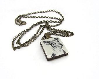 Jack Russel Dog Illustration Tile necklace.