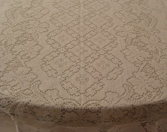 Vintage Ivory Lace Tablecloth-60x80 inches