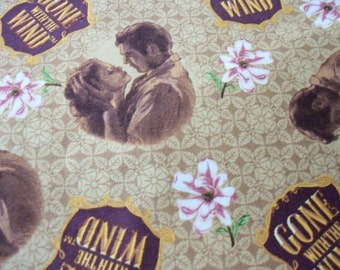 Gone With The Wind Fabric Rhett and Scarlet Beige Background Rare & Hard to Find New By The Fat Quarter
