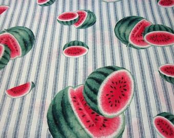 Watermelon Fabric Blue Mattress Ticking Stripe  New By The Fat Quarter