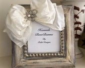 Photo Frame Wedding Bow Jewel Rustic Neutral Ivory Diamond Bling Personalize