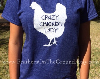 Navy Size Small Crazy Chicken Lady Womens Fit  Shirt DISCONTINUED COLOR