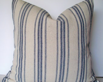 Grain Sack Pillow Cover, Blue Farmhouse Pillow Blue Cottage Pillow French Grain Sack
