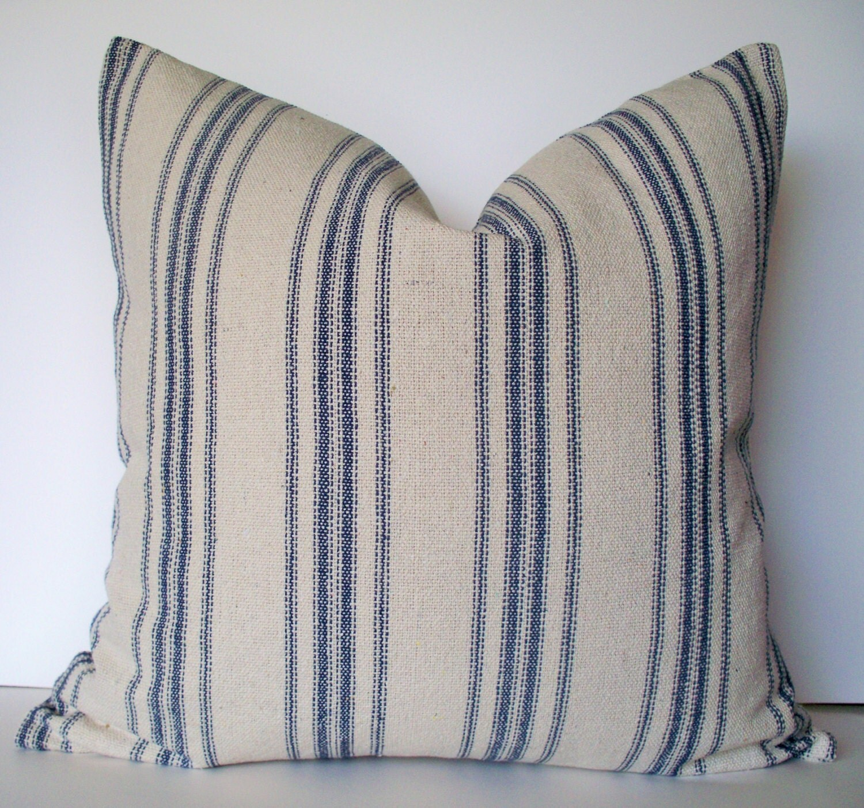 Grain Sack Pillow Cover Blue Farmhouse Pillow Blue Cottage