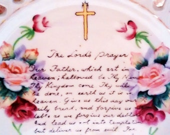 Our Father Prayer Plate Lace Style Cut Porcelain Hand Painted Roses Flowers Handwriting Collectible Vintage