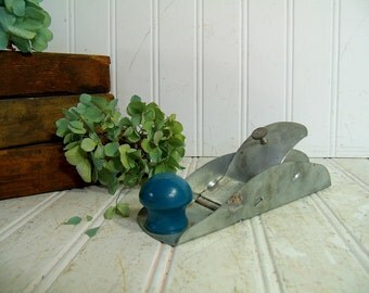 Vintage Handy Andy Wood Plane Tool - Child Size Small Functioning Woodworking Plane Handy Andy Tool Kit Replacement Metal Plane Blue Handle