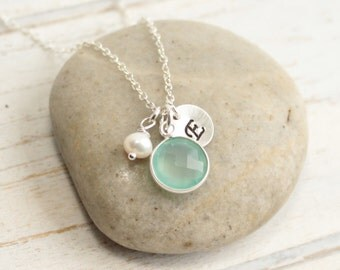 Sterling Silver Sea Green Chalcedony Bezel Stone Necklace with Pearl and Custom Initial