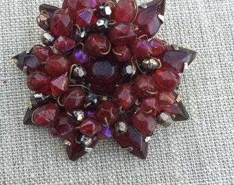 Vintage czech glass garnet bead flower destash