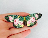 Black and Pink Green Butterfly Rose Floral Wooden Brooch Pin Birthday Gift Wood Roses Nature Wildlife Small Present Insect Unique for Her