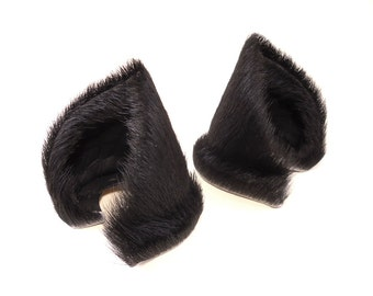 Wide Style Natural Black Fur Leather Cat Ears Nekomimi Cosplay Furry Goth Fantasy LARP Fairy Kitten Play
