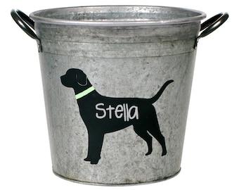Personalized Pet Storage Bucket, Black Lab