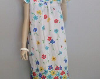 vintage Cotton Shift Lucy House Dress Grunge Floral Tent Dress Plus size L-XL