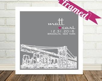 Brooklyn Bridge Engagement Gift Brooklyn Bridge Print Brooklyn Bridge Art Personalized FRAMED ART Any City Available Unique Engagement Gift