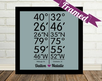 Personalized Latitude Longitude FRAMED Love Art Print Custom Coordinates Long Distance Relationship Any City Available  Best Friend Gift